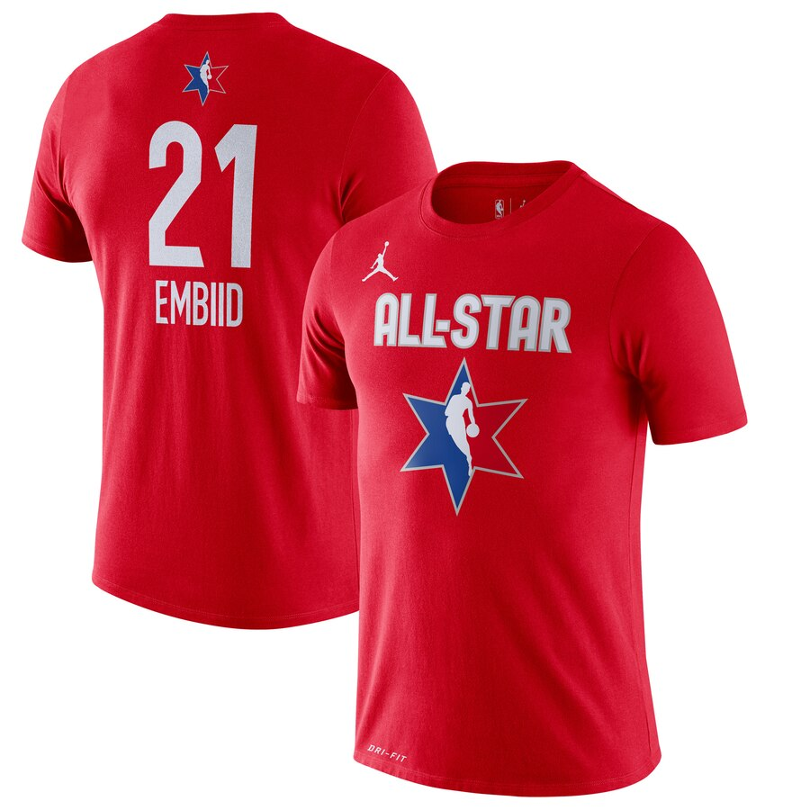 Joel Embiid Jordan Brand 2020 NBA All-Star Game Name & Number Player T-Shirt Red