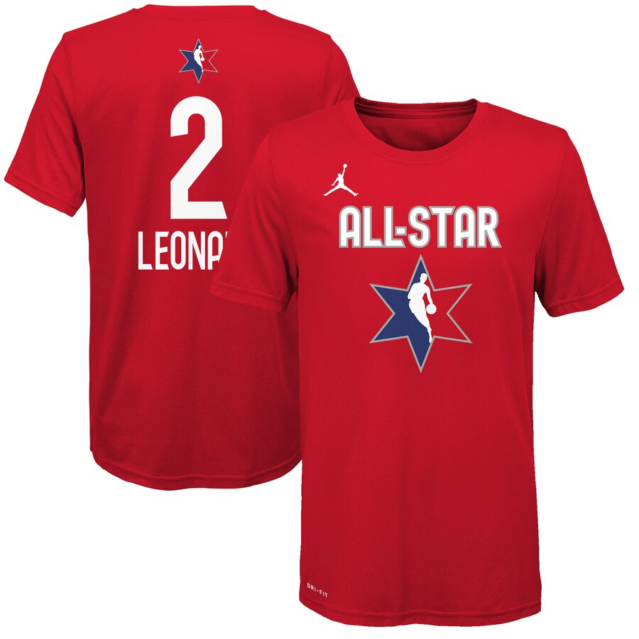 Jordan Brand Kawhi Leonard Red 2020 NBA All-Star Game Name & Number T-Shirt
