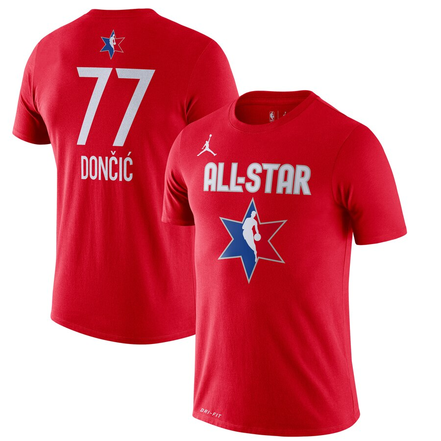 Luka Doncic Jordan Brand 2020 NBA All-Star Game Name & Number Player T-Shirt Red