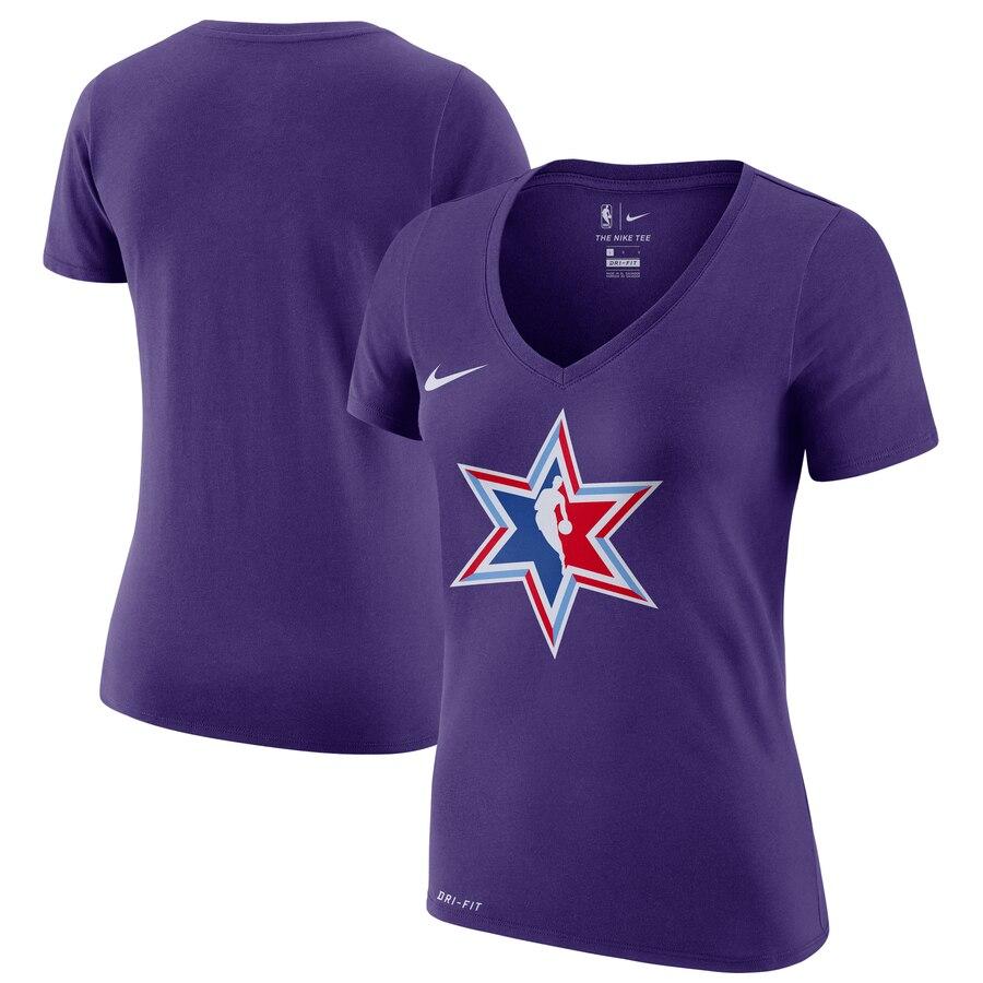 Nike Women's 2020 NBA All-Star Game Secondary Logo V Neck T-Shirt Purple