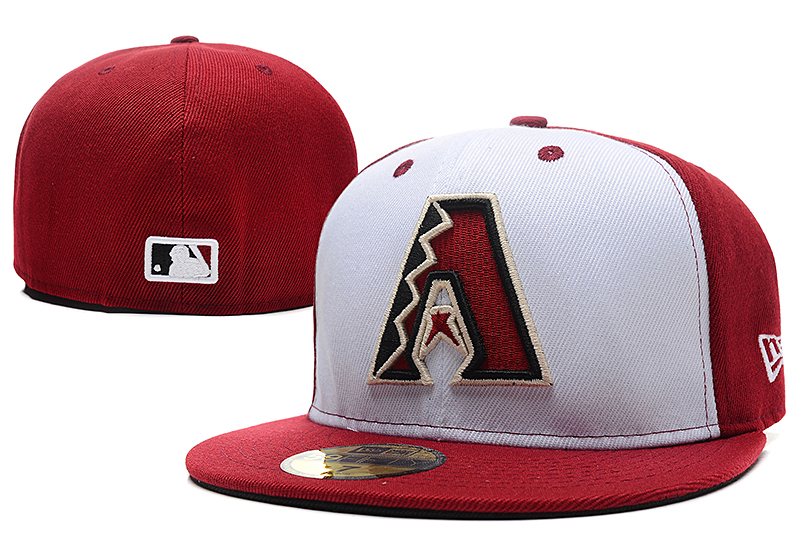 Diamondbacks Team Logo White Red Fitted Hat LX