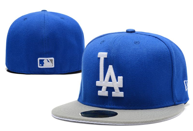 Dodgers Team Logo Royal Gray Fitted Hat LX