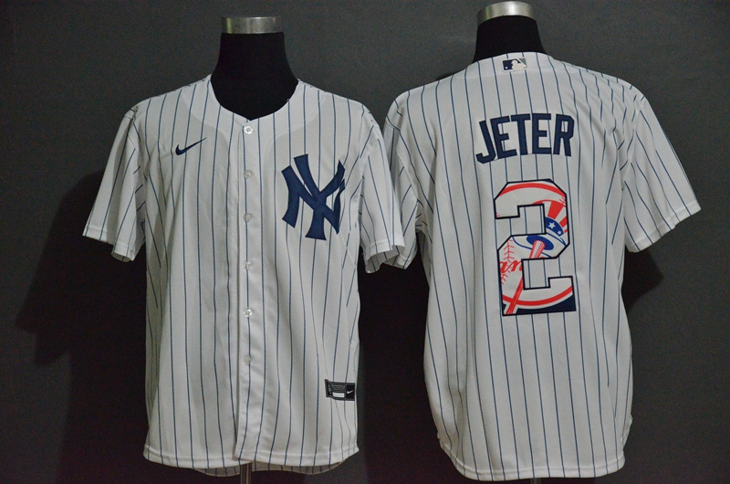 Yankees 2 Derek Jeter White Nike 2020 Nike Cool Base Fashion Jersey