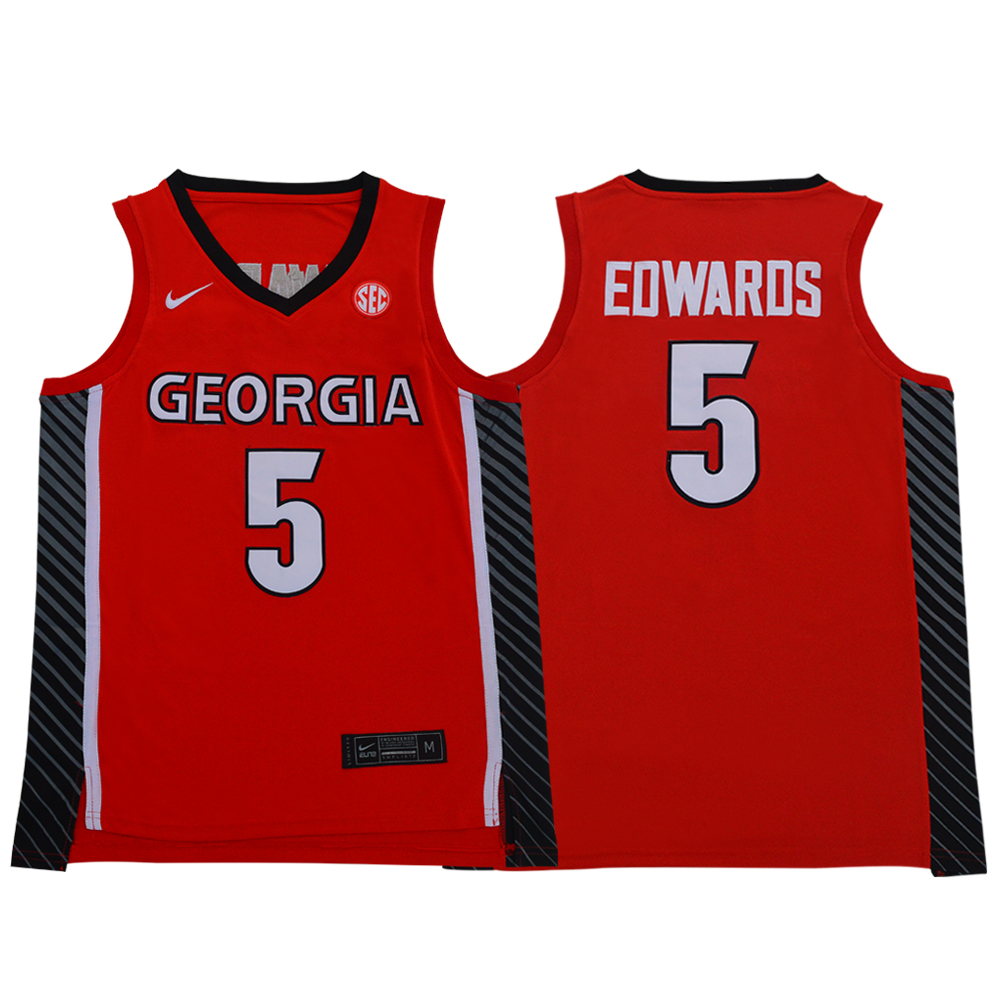 Georgia Bulldogs 5 Anthony Edwards Red Nike College Basketball Jersey