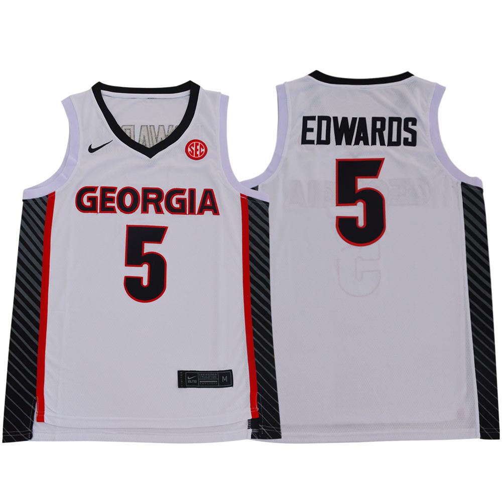 Georgia Bulldogs 5 Anthony Edwards White Nike College Basketball Jersey