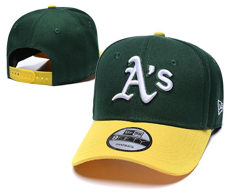 Athletics Team Logo Green Yellow Speak Adjustable Hat TX