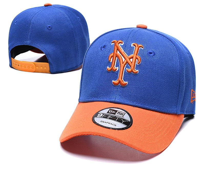 Mets Team Logo Blue Orange Speak Adjustable Hat TX