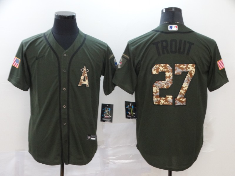 Angels 27 Mike Trout Olive 2020 Nike Cool Base Jersey