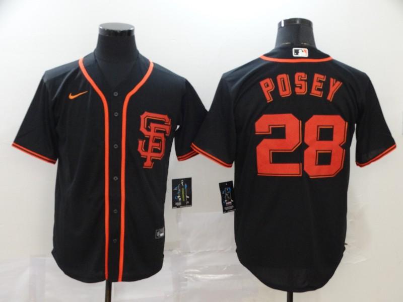 Giants 28 Buster Posey Black 2020 Nike Cool Base Jersey