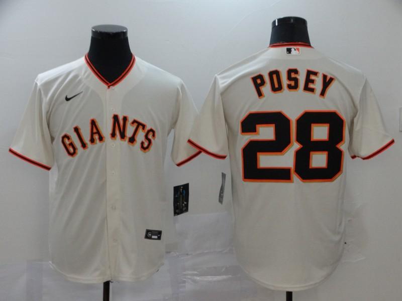 Giants 28 Buster Posey Cream 2020 Nike Cool Base Jersey