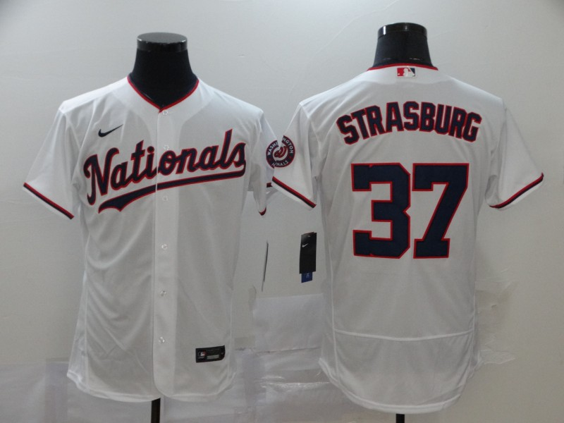 Nationals 37 Stephen Strasburg White 2020 Nike Flexbase Jersey