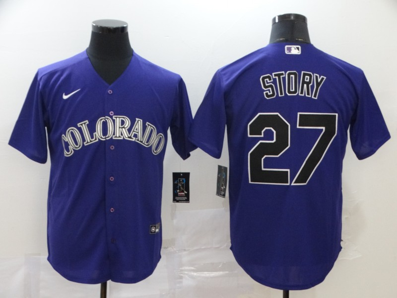 Rockies 27 Trevor Story Purple 2020 Nike Cool Base Jersey