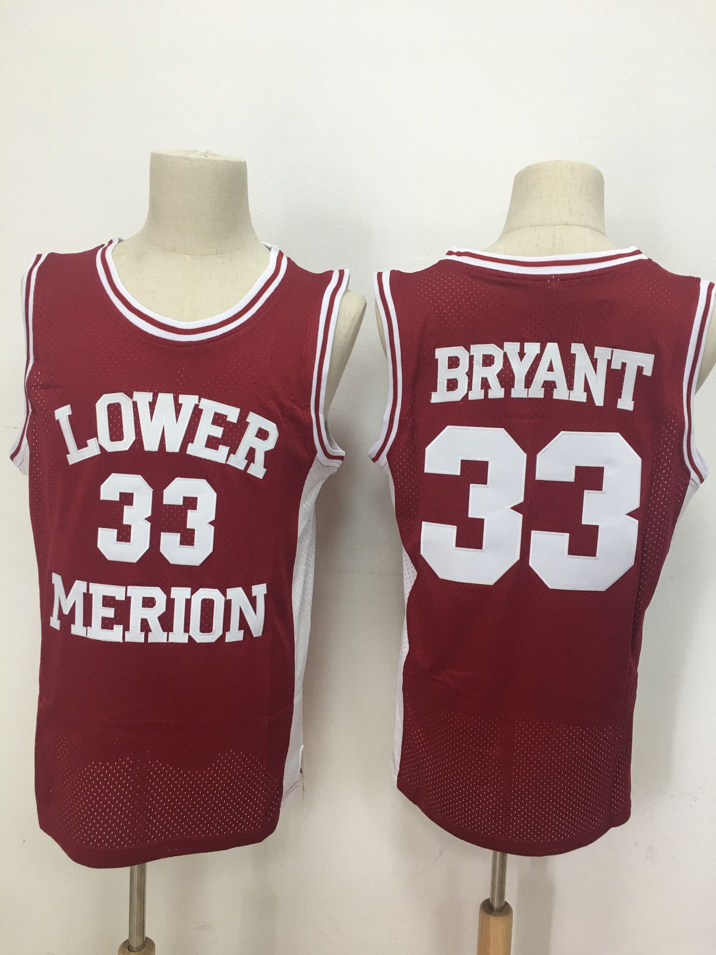 Lower Merion Aces 33 Kobe Bryant Red High School Mesh Basketball Jersey