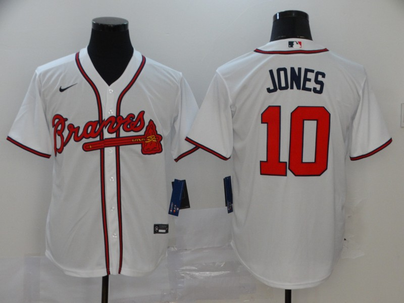 Braves 10 Chipper Jones White 2020 Nike Cool Base Jersey