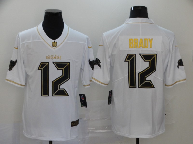Buccaneers 12 Tom Brady White Gold Vapor Untouchable Limited Jersey