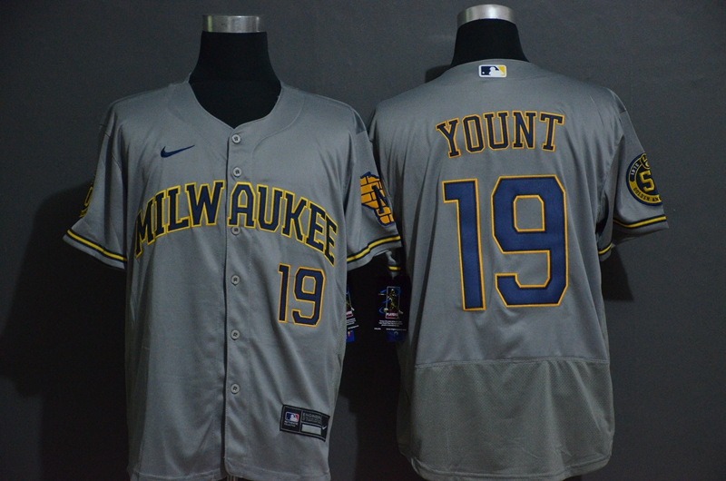 Brewers 19 Robin Yount Gray 2020 Nike Flexbase Jersey