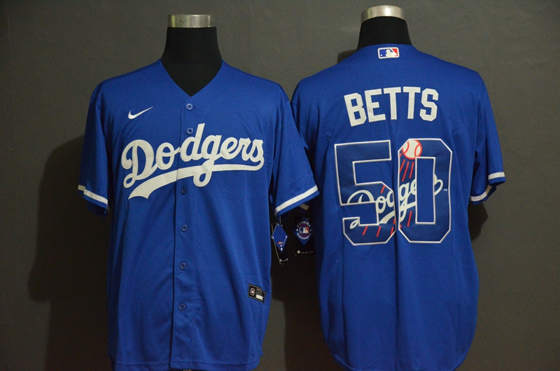 Dodgers 50 Mookie Betts Royal 2020 Nike Cool Base With Team Logo Jersey