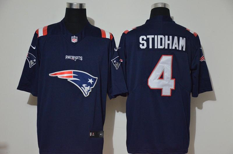 Nike Patriots 4 Jarrett Stidham Navy Team Big Logo Vapor Untouchable Limited Jersey