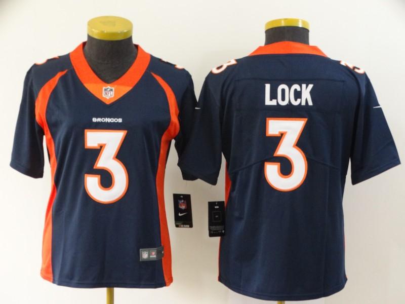 Nike Broncos 3 Drew Lock Navy Women Vapor Untouchable Limited Jersey