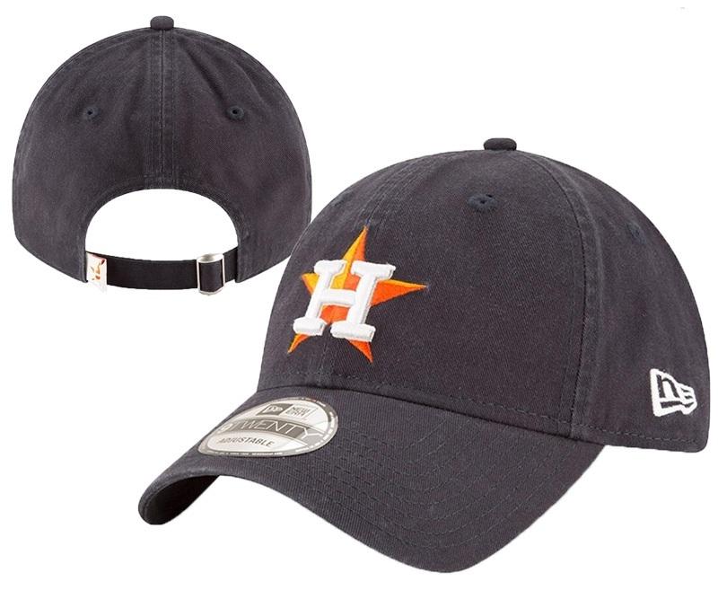 Astros Team Logo Black Peaked Adjustable Hat YD