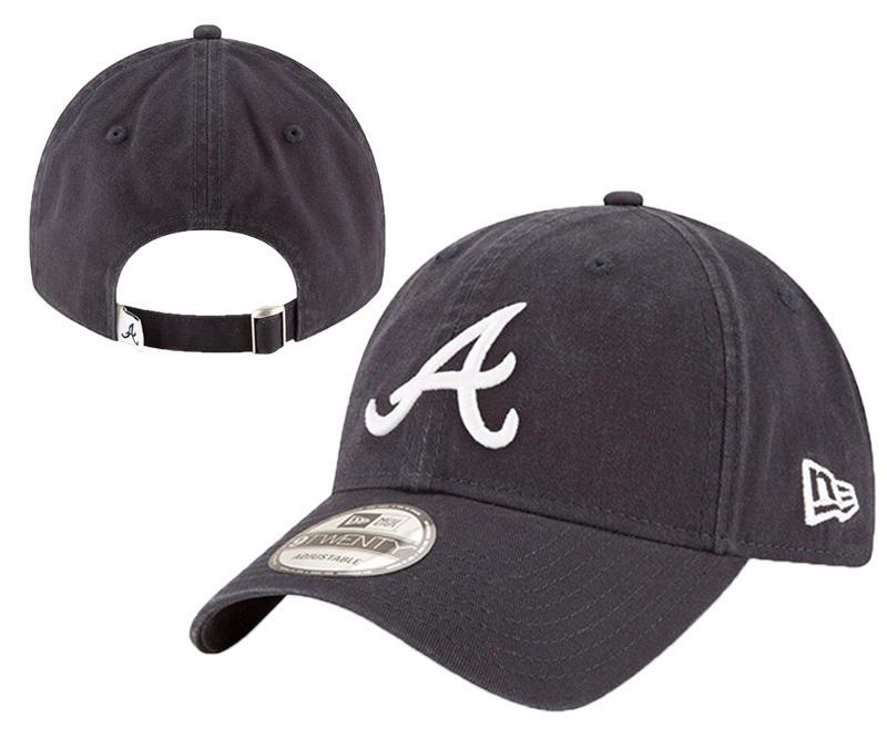 Braves Team Logo Black Peaked Adjustable Hat YD