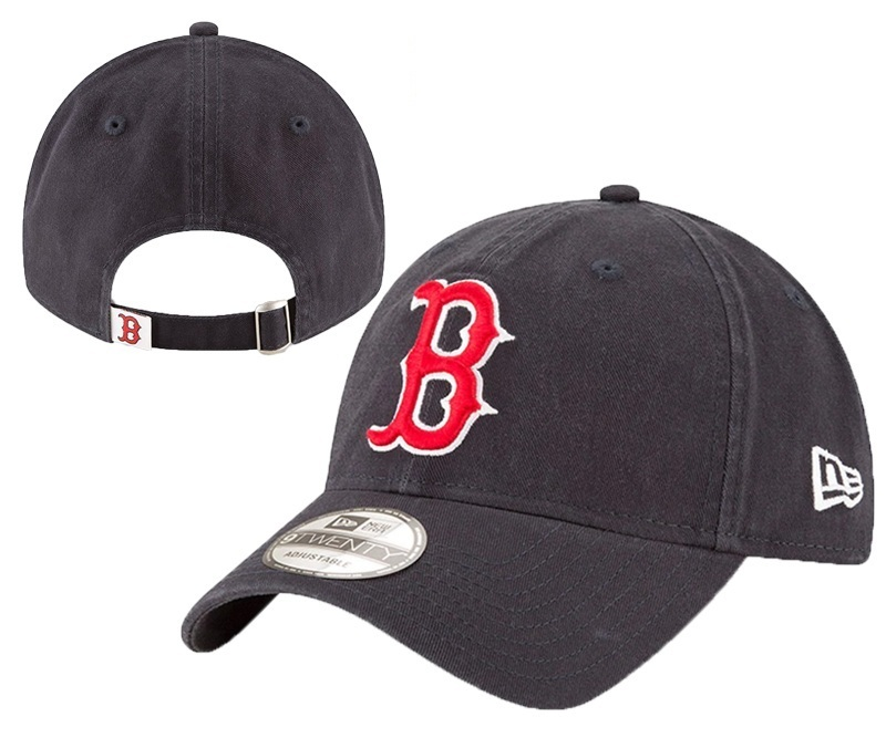 Red Sox Team Logo Black Peaked Adjustable Hat YD