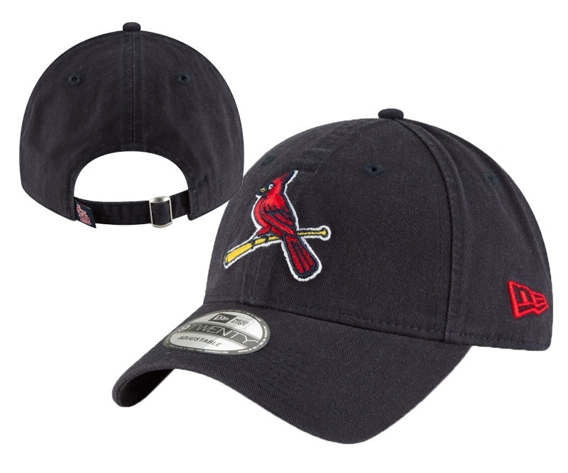 St. Louis Cardinals Team Logo Black Peaked Adjustable Hat YD