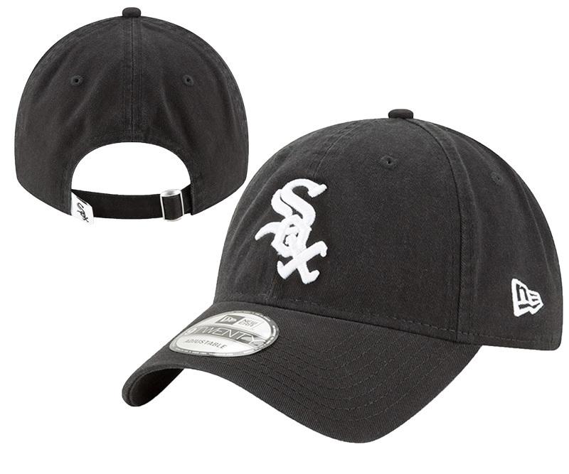 White Sox Team Logo Black Peaked Adjustable Hat YD