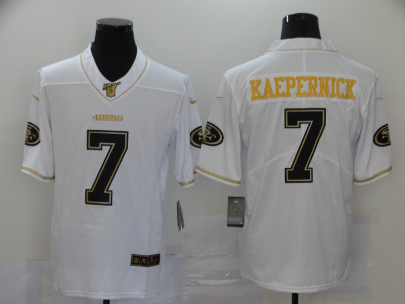 Nike 49ers 7 Colin Kaepernick White Gold Vapor Untouchable Limited Jersey