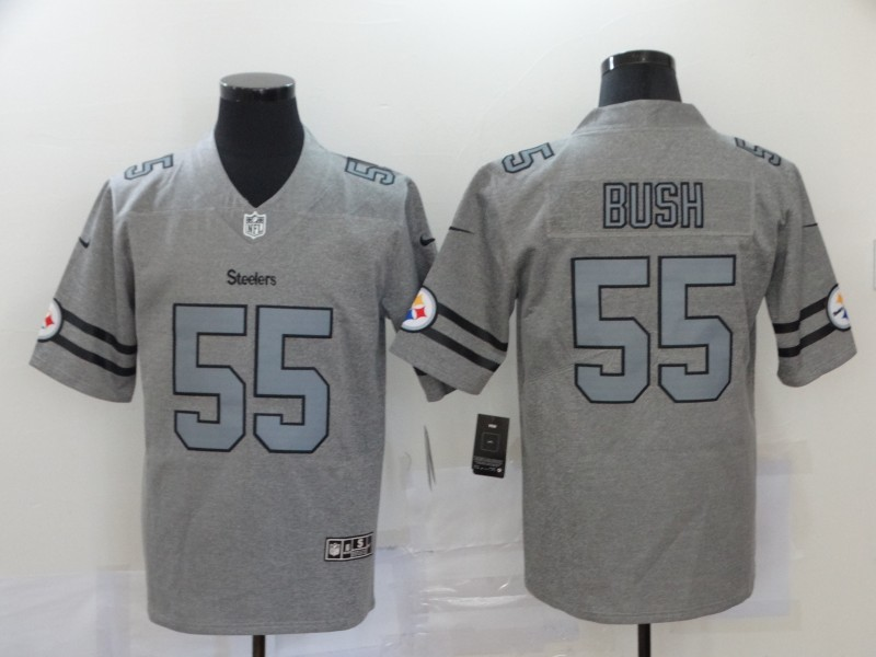 Nike Steelers 55 Devin Bush 2019 Gray Gridiron Gray Vapor Untouchable Limited Jersey