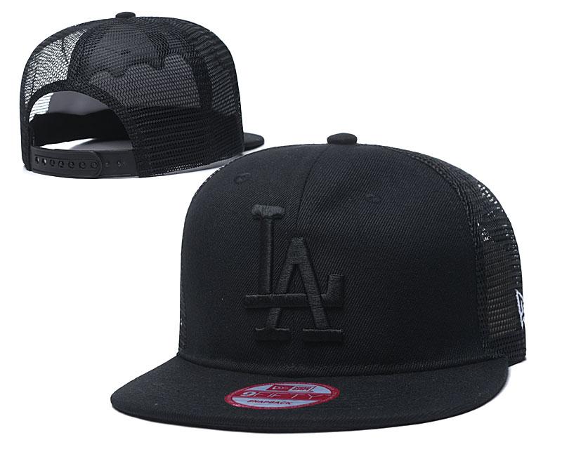 Dodgers Team Logo All Black Adjustable Hat TX