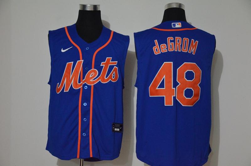Mets 48 Jacob DeGrom Royal Nike Cool Base Sleeveless Jersey