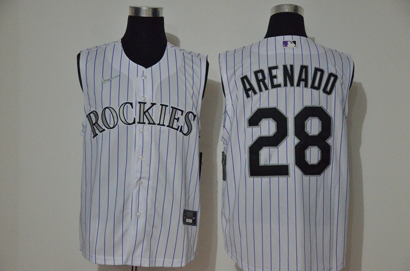 Rockies 28 Nolan Arenado White Nike Cool Base Sleeveless Jersey