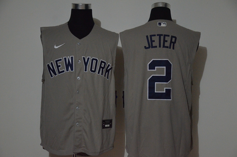Yankees 2 Derek Jeter Gray Nike Cool Base Sleeveless Jersey