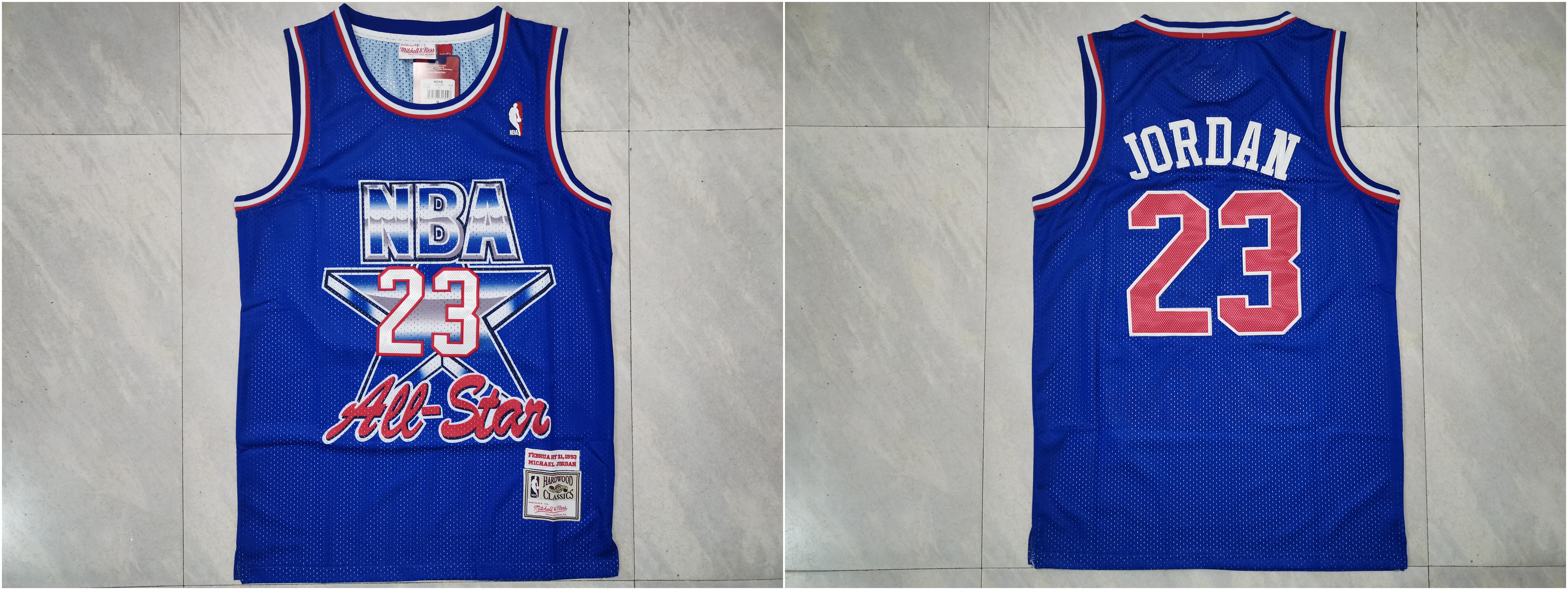 Bulls 23 Michael Jordan Blue 1993 All-Star Blue Hardwood Classics Jersey