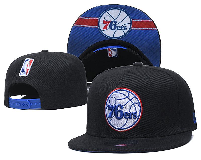 76ers Team Logo Black Adjustable Hat GS