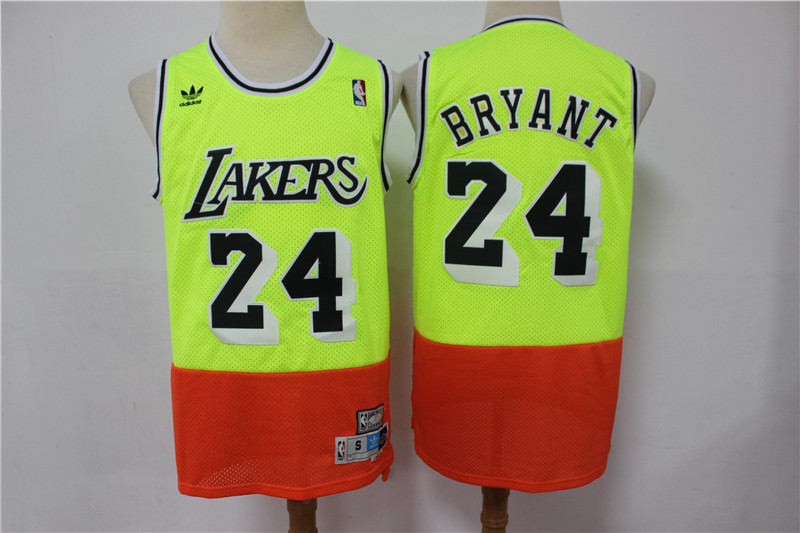 Lakers 24 Kobe Bryant Fluorescent Green Orange Split Hardwood Classics Jersey