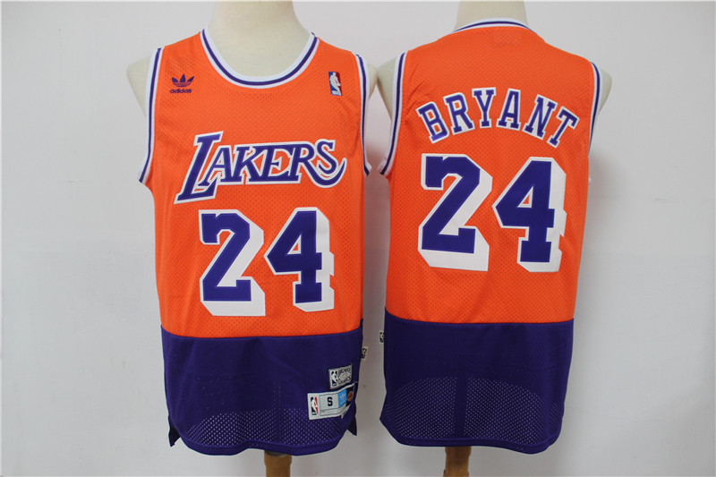 Lakers 24 Kobe Bryant Orange Navy Split Hardwood Classics Jersey