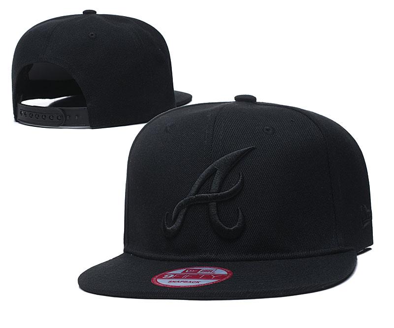Braves Team Logo All Black Adjustable Hat TX