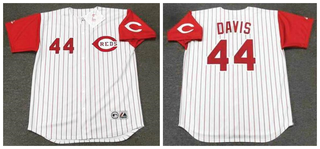 Reds 44 Eric Davis White 1996 Throwback Jersey