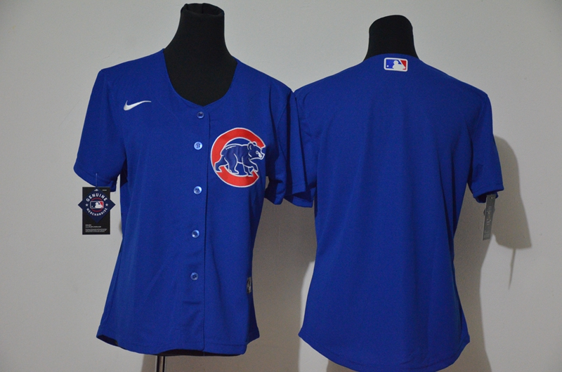 Cubs Blank Royal Women Cool Base Jersey