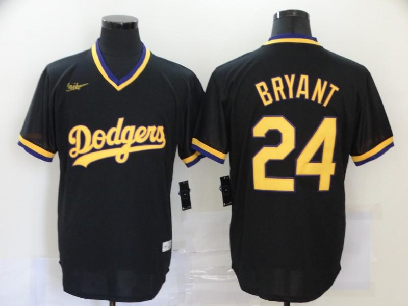 Dodgers 24 Kobe Bryant Black Nike Throwback Cool Base Jersey