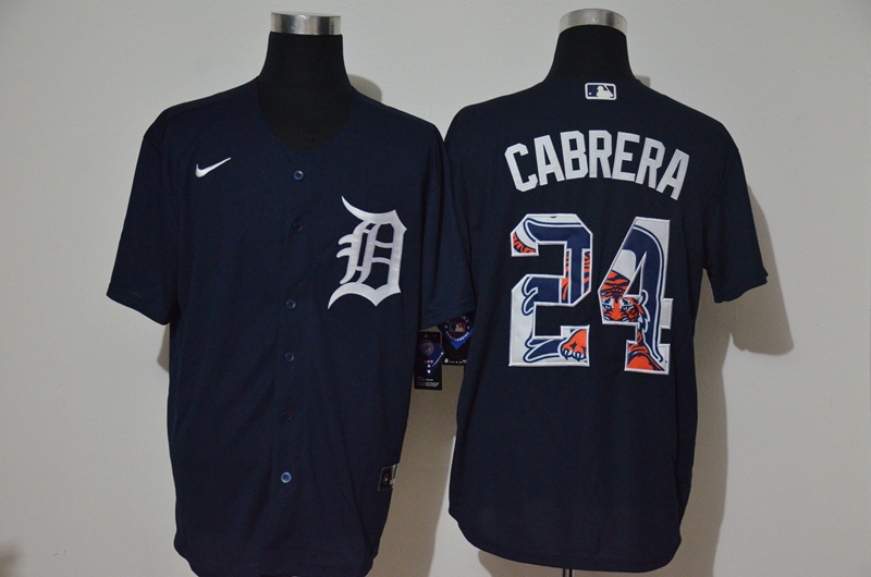Tigers 24 Miguel Cabrera Navy 2020 Nike Cool Base Fashion Jersey