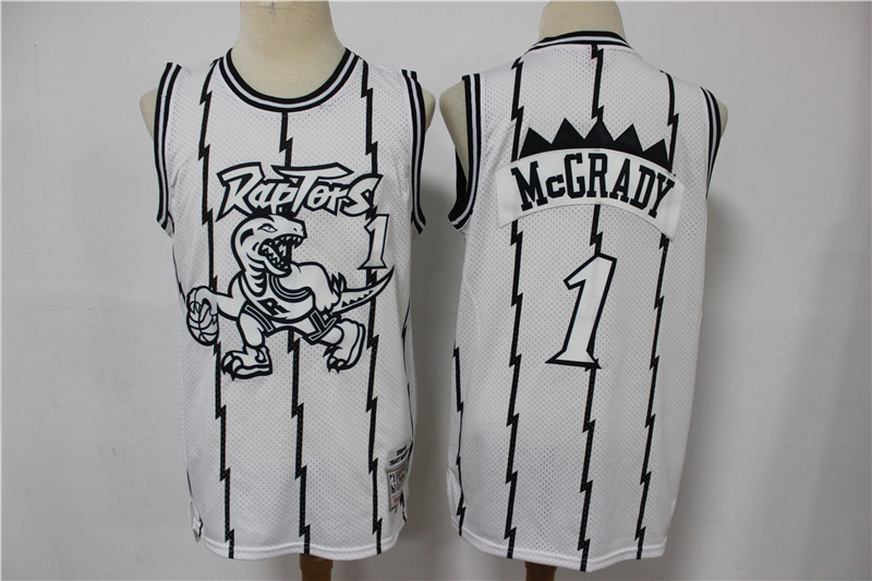 Raptors 1 Tracy McGrady White Hardwood Classics Jersey