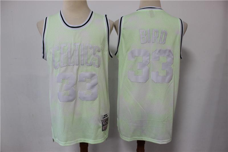 Celtics 33 Larry Bird Light Green Hardwood Classics Jersey