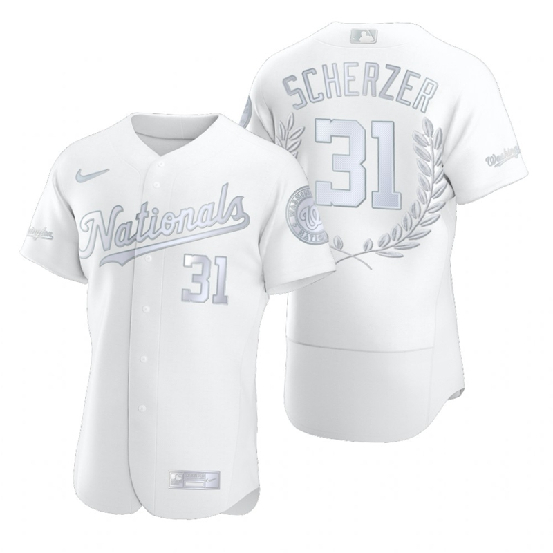 Nationals 31 Max Scherzer White Nike Flexbase Fashion Jersey