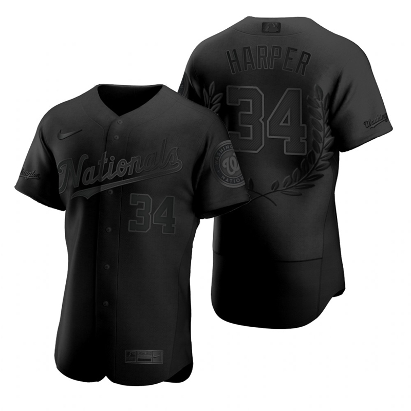 Nationals 34 Bryce Harper Black Nike Flexbase Fashion Jersey