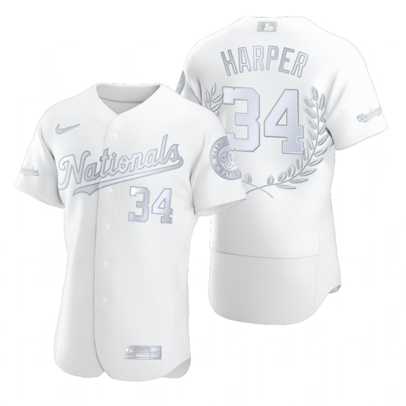 Nationals 34 Bryce Harper White Nike Flexbase Fashion Jersey