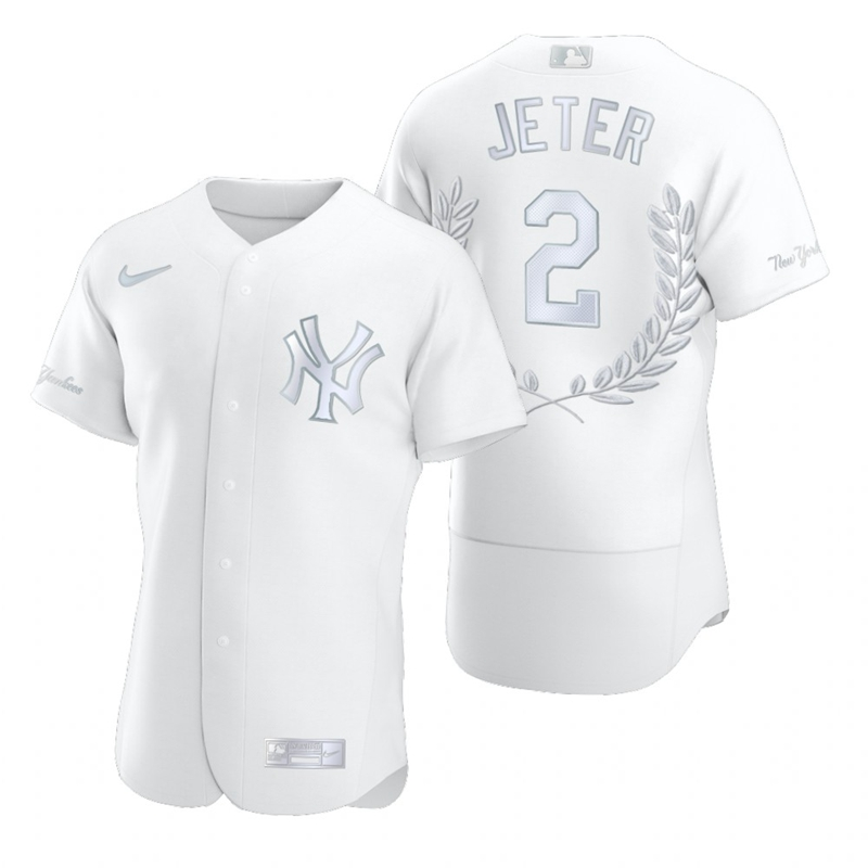 Yankees 2 Derek Jeter White Nike Flexbase Fashion Jersey