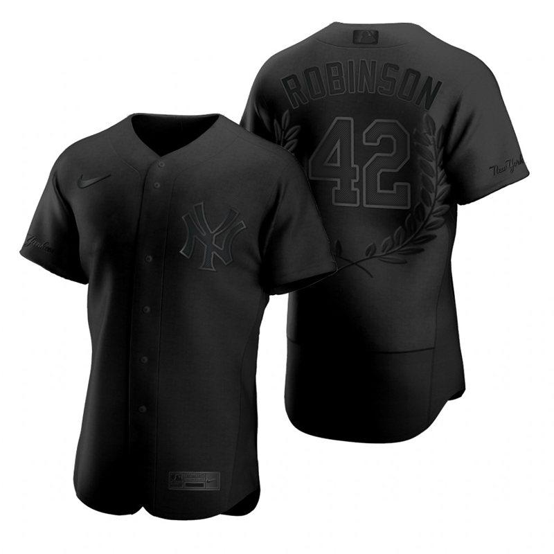Yankees 42 Jackie Robinson Black Nike Flexbase Fashion Jersey